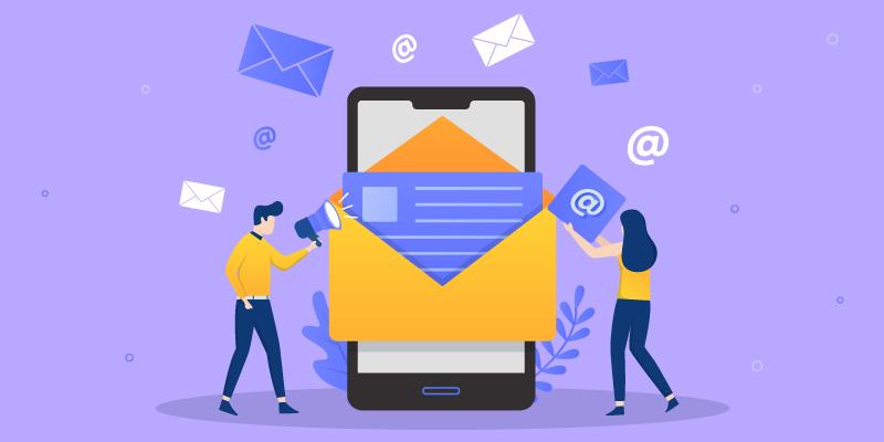 Ilustración de hombre y mujer abriendo correo electrónico en el teléfono celular